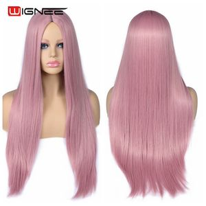 Image 3 - Wignee Pink Long Straight Hair Synthetic Wig For Women Hair Bundle With Closure Daily/Party Heat Resistant Glueless Hair Wigs