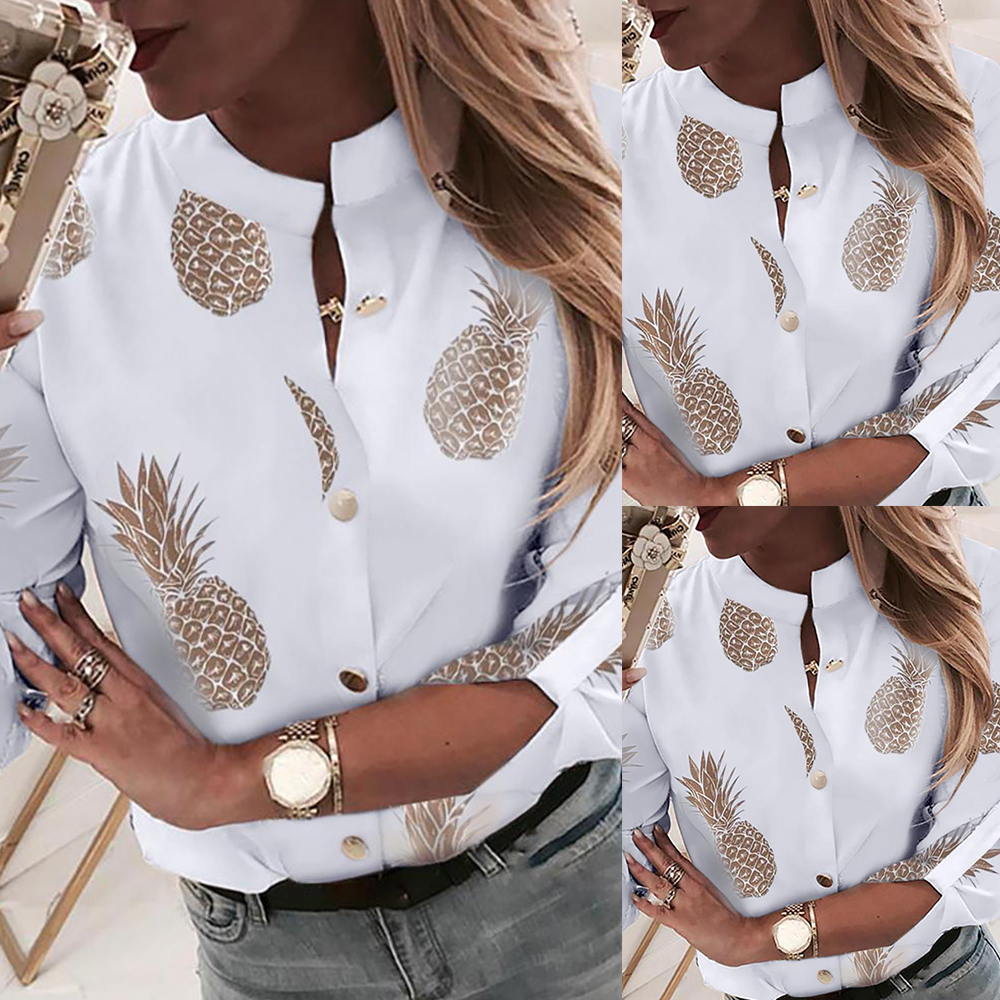 Shirts Women Tops Blouses 2019 Elegant Long sleeve Shirts Pineapple Printing Blouse Female Casual Plus Size Blusas Femininas D30 in Blouses amp Shirts from Women 39 s Clothing