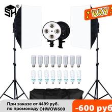 Fotografia softbox estúdio photo lighting kit caixa suave sistema de luz contínua para câmera com e27 lâmpada fotográfica acessórios