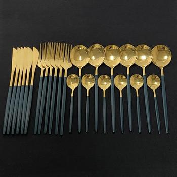 Набор столовых приборов из нержавеющей стали, комплект из 24 столовых приборов зеленого и золотого цвета, зеркальная столовая посуда, нож, ви...