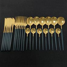 Ensemble de couverts en acier inoxydable, 24 pièces, vert et or, vaisselle miroir, couteau, fourchette, cuillère à café pour la maison