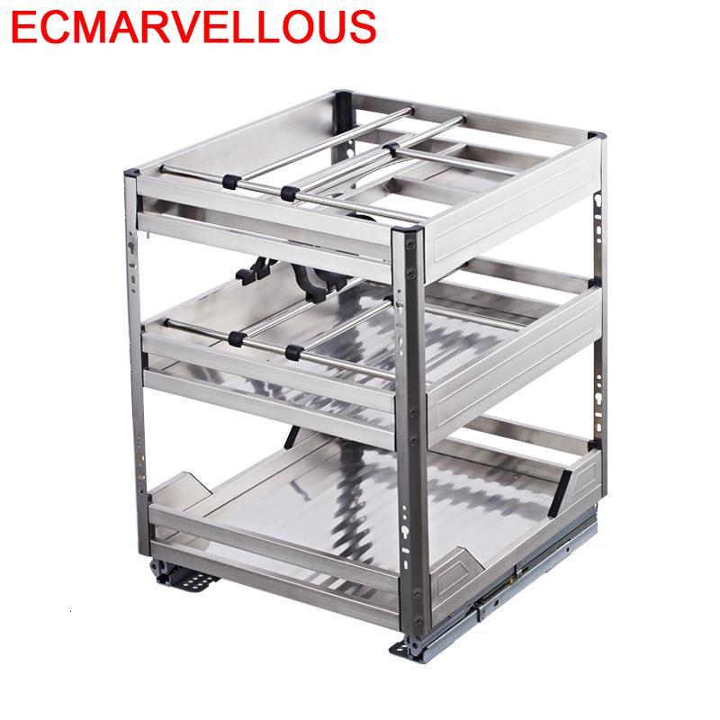 For Cestas Corredera Armario De Despensa Organizador Cucina Pantries Stainless Steel Rack Cocina Kitchen Cabinet Storage Basket