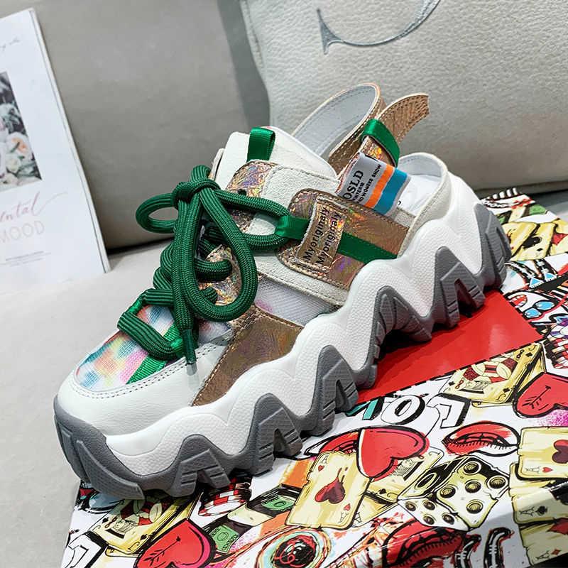 נשים שמנמן סנדלי פלטפורמת מעצבי רשת מותג אופנה אישה 6cm טריזי עקבים גבוהה סנדל חוף נעליים יומיומיות 2020 קיץ
