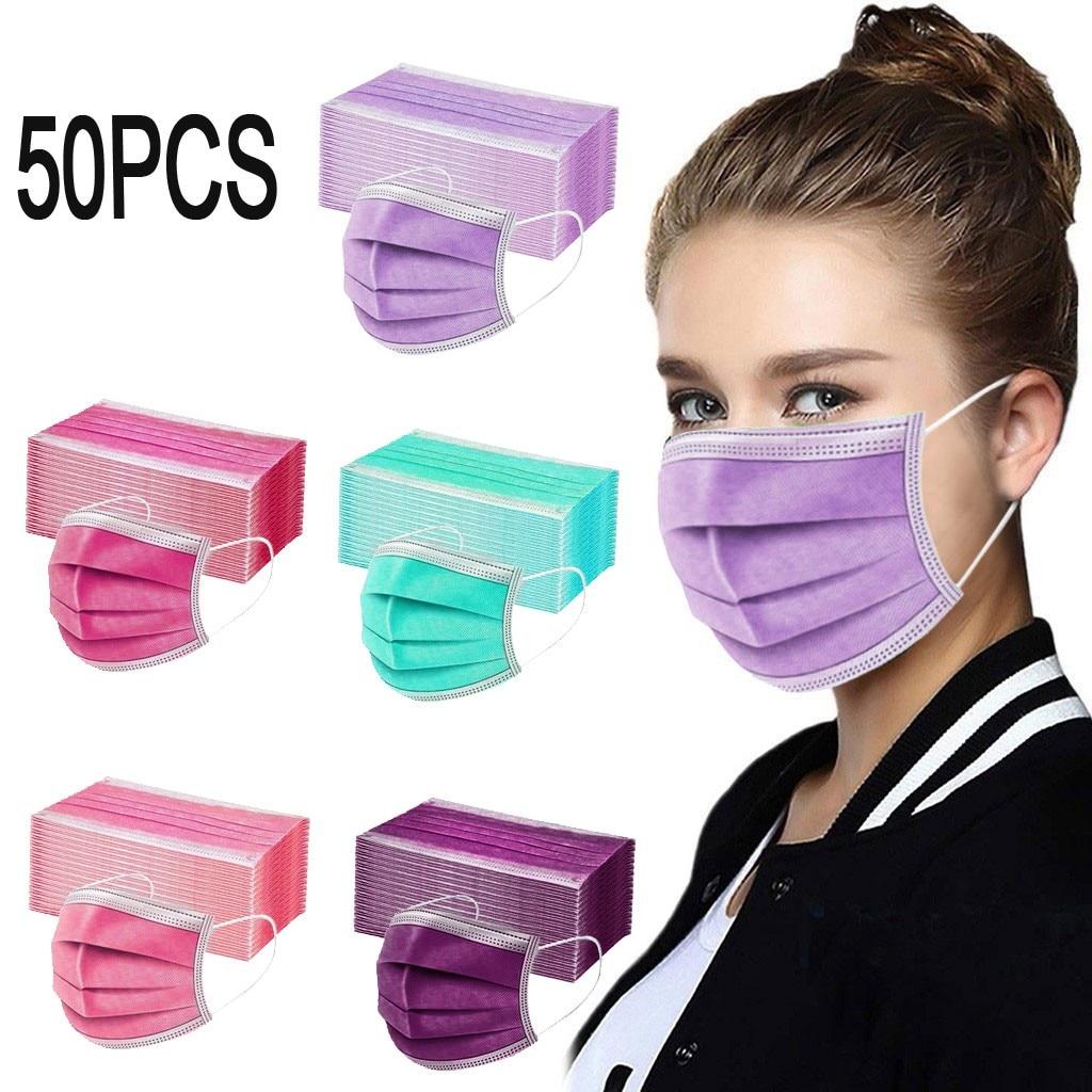Маски одноразовые однотонные для мужчин и женщин, дышащая маска с петлями для ушей, 3 слоя, для взрослых, 10/20/30/50 шт.