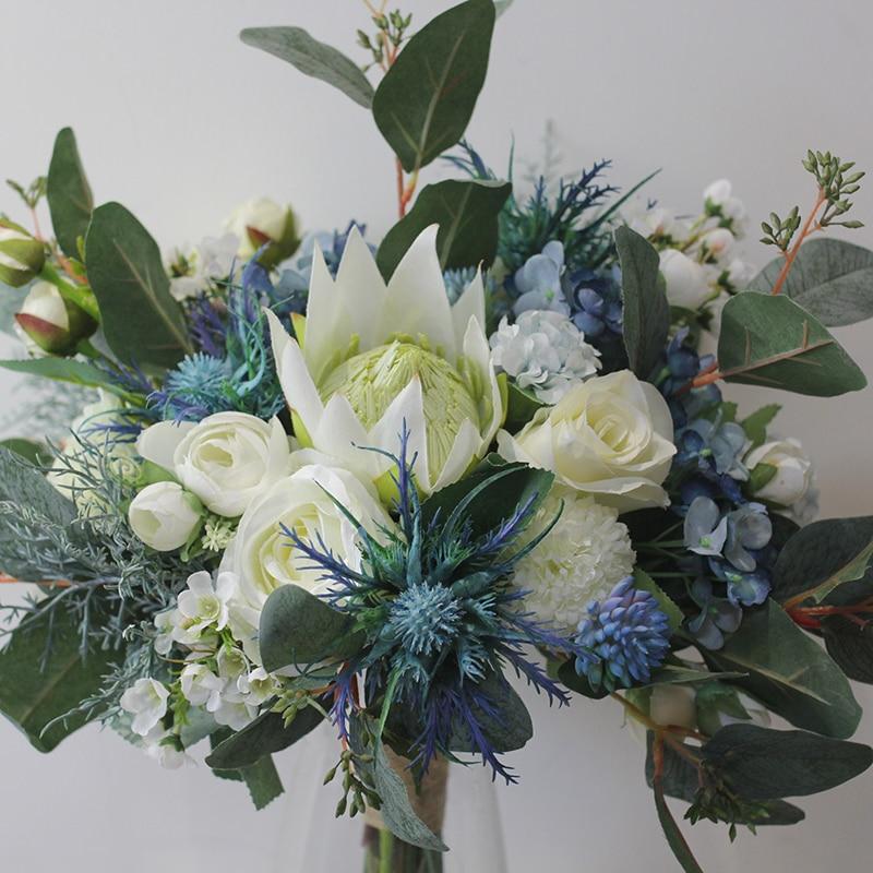JaneVini Elegant Boho White Blue Wedding Flowers Bridal Bouquets Artificial Silk Roses Bride Bridesmaid Bouquet Ramo Dama Honor