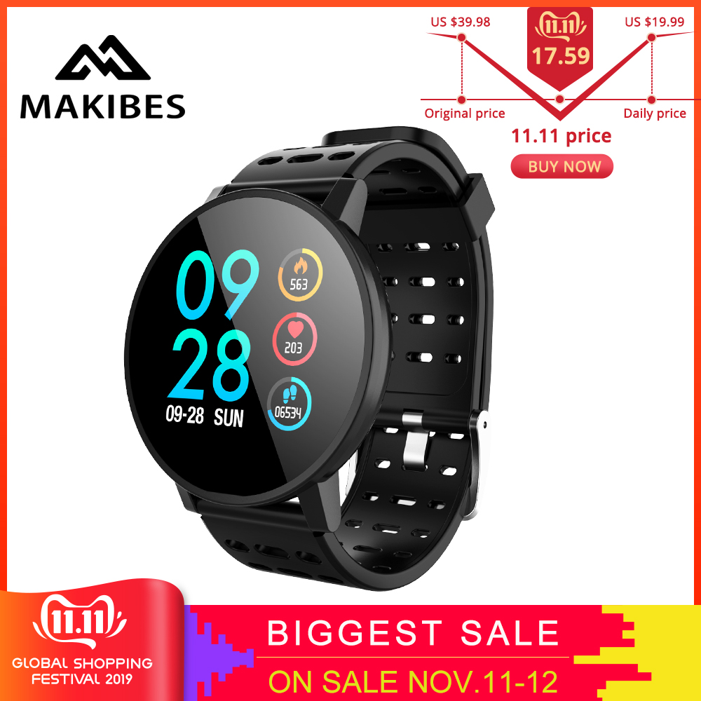 11.11Makibes T3 Smart watch waterproof Activity Fitness tracker HR Blood oxygen Blood pressure Clock Men women smartwatch PK V11