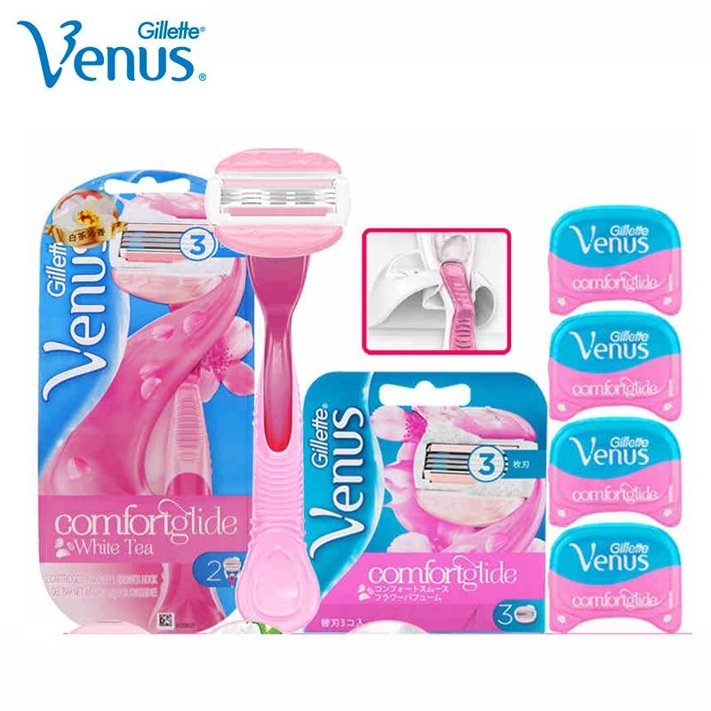 Gillette Venus Razor For Women Spa Breeze Pink Lady Shaving Razor Blades Safety Razor For Girl  Shaving Hair 1Holder 5Blades