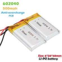 Bateria recarregável de polímero de lítio, 602040 3.7v 500mah íon de lítio para mp3 mp4 smartwatch bluetooth headset li power de backup célula de po