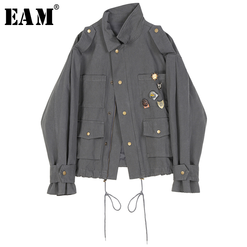 [EAM] Loose Fit Gray Drawstring Split Big Size Short Jacket New Lapel Long Sleeve Women Coat Fashion Tide Spring 2020 1R232
