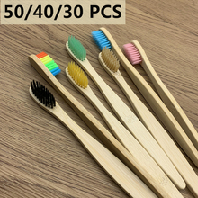 50/40/30 Pcs/lot Natural Bamboo Toothbrush Set Oral Care Health Tool Environmentally Soft Bristles With Biodegradable Packaging