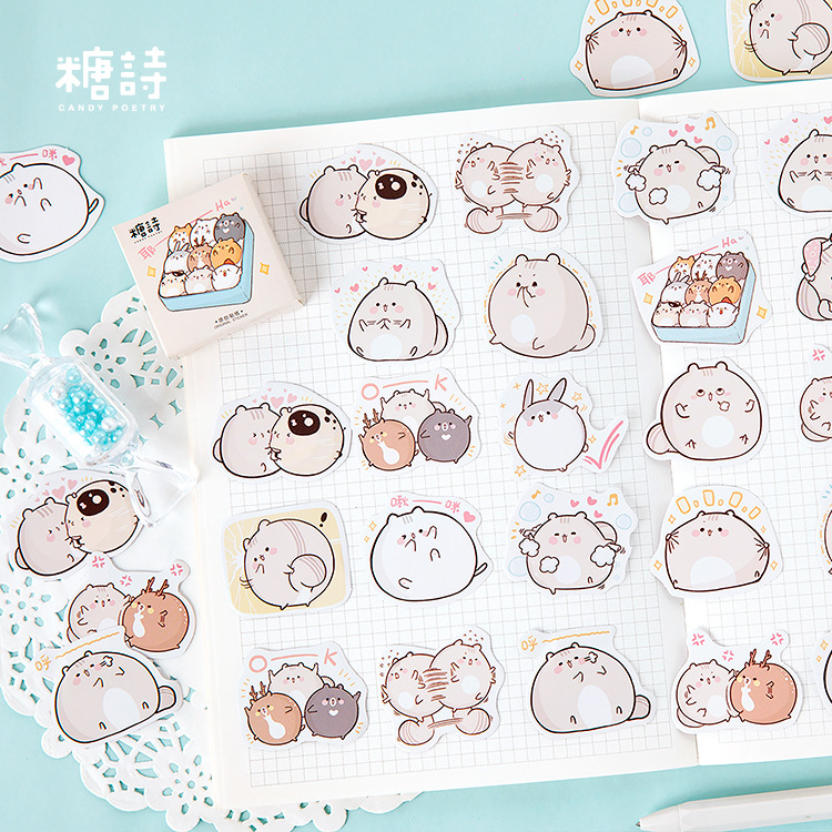 45pcs Hamster Friends Kawaii Stickers Scrapbooking Journal Diy Diary Album Stick Label Hand Book Decorative