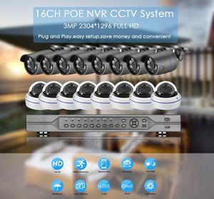 Image 2 - AZISHN H.265 16CH 3MP POE NVRระบบรักษาความปลอดภัยกล้องวงจรปิด16PCS IRกลางแจ้งเสียงบันทึกIPกล้องP2Pการเฝ้าระวังวิดีโอชุด4TB
