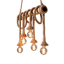 цены Bamboo Tube Woven Twine Pendant Lights American Country Retro Decorative Pendant Lamp Personalized Creative Hanging Lights