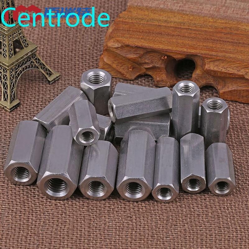 GB56 304 Edelstahl Verlängert und Verdickt Mutter Hexagonal Mutter Docking Kette Verbindung Mutter M10-M24 1PCS
