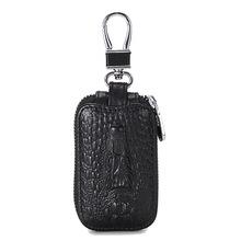 Prawdziwej skóry mężczyzn portfel na klucze samochodowe Vintage projektant mężczyzna woreczek na klucze torba brelok na klucze wzór krokodyla etui na klucze organizator Man tanie tanio ETONWEAG CN (pochodzenie) PRAWDZIWA SKÓRA Skóra bydlęca 1 96inch 3 34inch men car key pouch poduszka genuine leather