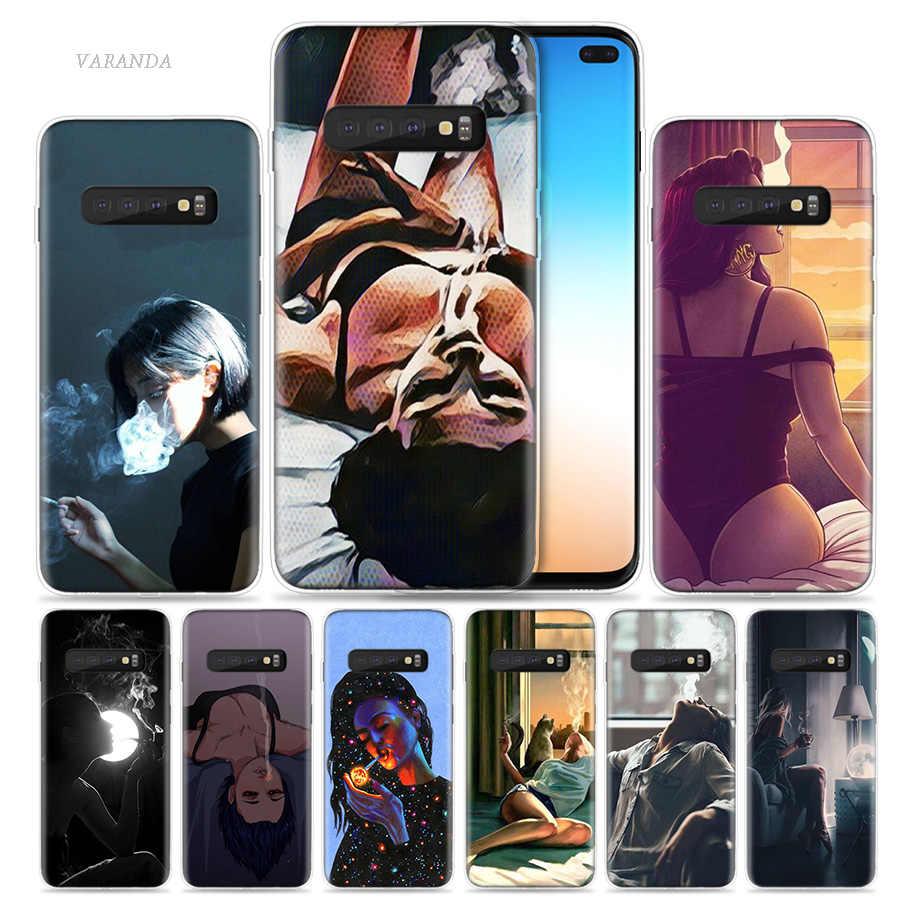 Курение Девушка эстетическое чехол для samsung Galaxy S10 5G S10e S9 S8 S7 Примечание 10 8 9 J4 J6 плюс M20 M30s M10s мягкий чехол для мобильного телефона c Coque мешок