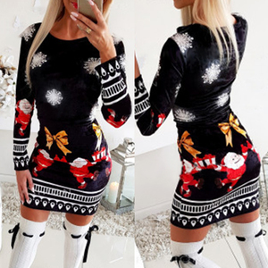 Christmas Bodycon Dresses for Women 2020 Fashion knitted Print Woman Dress Long Sleeve Autumn Winter Clothing for Female D30