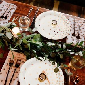 Image 2 - 300 Pieces Rose Gold Paper Party Supplies Disposable Paper Plate Cutlery Set Rose Gold Dot Hot Stamping Plate