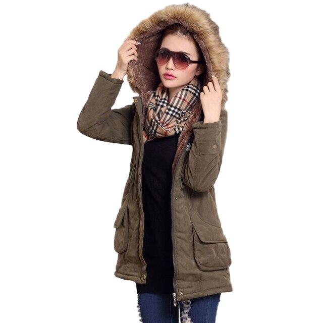 Fitaylor New Winter Women Jacket Medium-long Thicken Outwear Hooded Wadded Coat Slim Parka Cotton-padded Jacket Overcoat 6