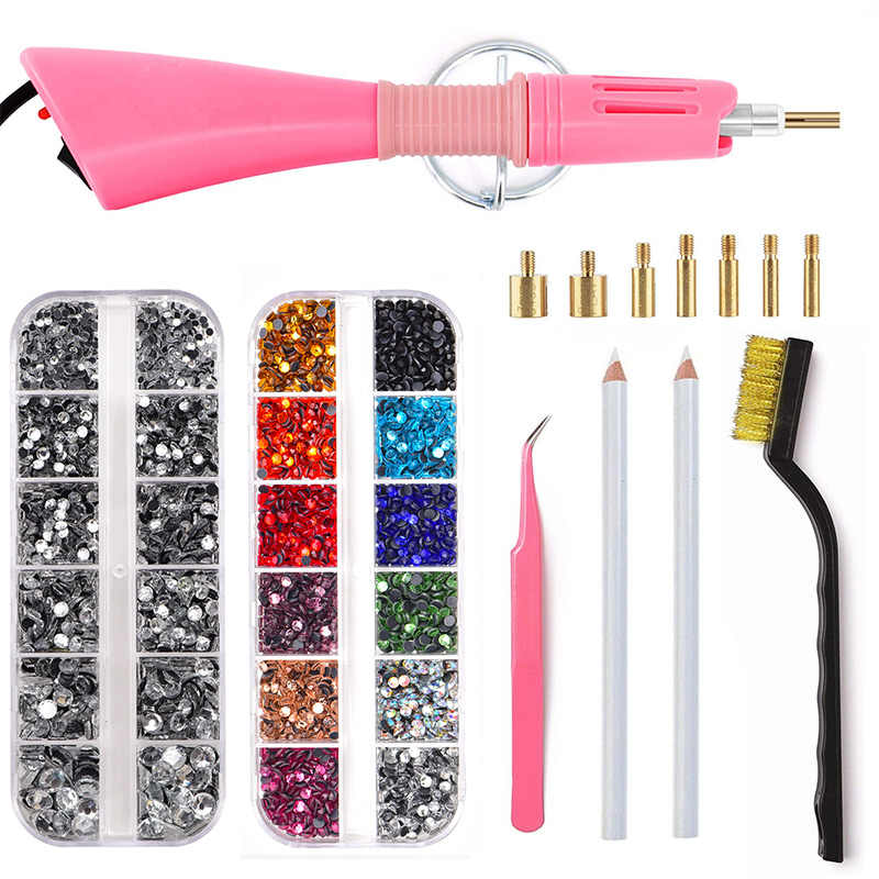 4000pcs 2 Boxes Mix Color Hot Fix Rhinestones Set Hotfix Applicator With 7 Different Nozzles Cleaning Kit Tweezers Brush B1288