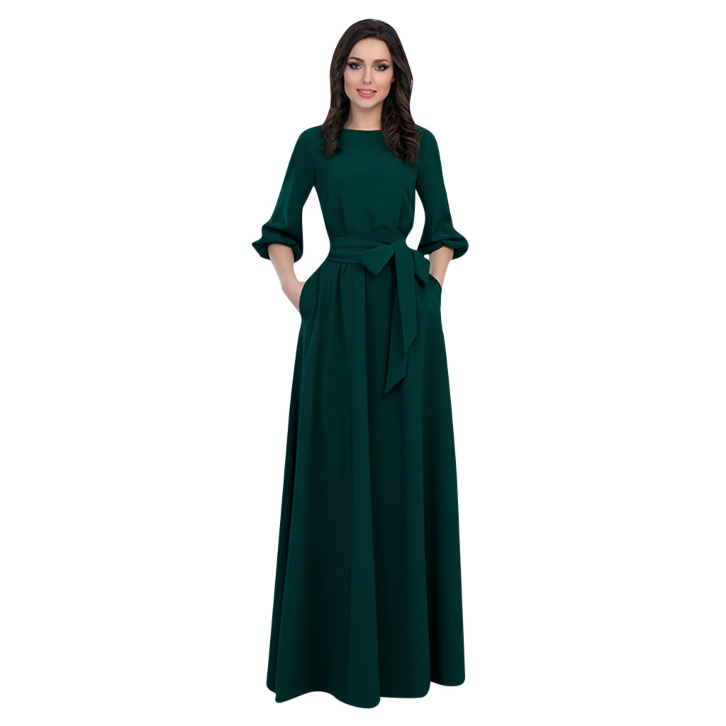 Women Summer Party Dress Casual Party Dress Lantern Sleeve Solid Long Maxi Dresses With Belt Vestidos Verano 2021 Mujer