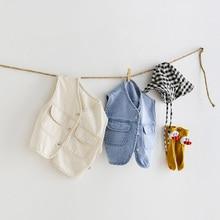 MILANCEL 2021 New Baby Clothing Spring New Toddler Girls Vest Casual Boys Denim Waistcoat