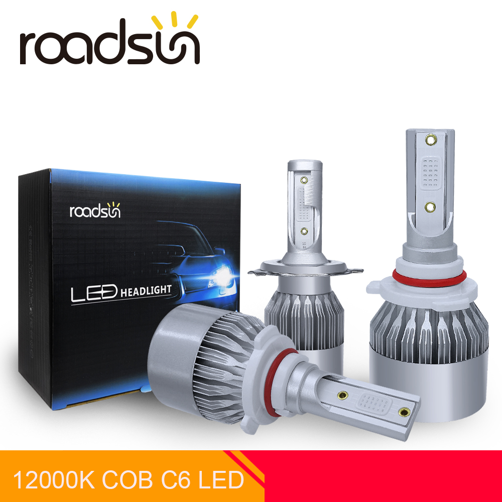 roadsun Car Styling Spot Light 12000K COB Chip C6 Car Headlight Bulb LED H7 H4 H1 H11 9005 9006 LED Auto Lamp Kit Blue Lighting-in Car Headlight Bulbs(LED) from Automobiles & Motorcycles