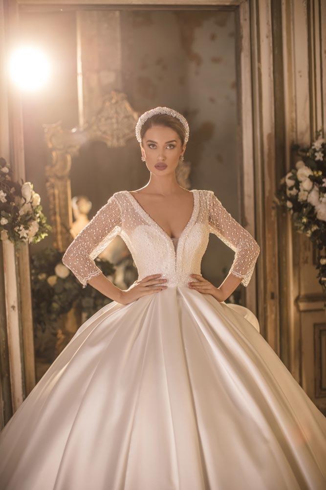 Image 3 - 2020 Mikado Royal V Neck Three Quarter Long Sleeve Backless Cathedral Wedding Dress Bridal GownWedding Dresses   -