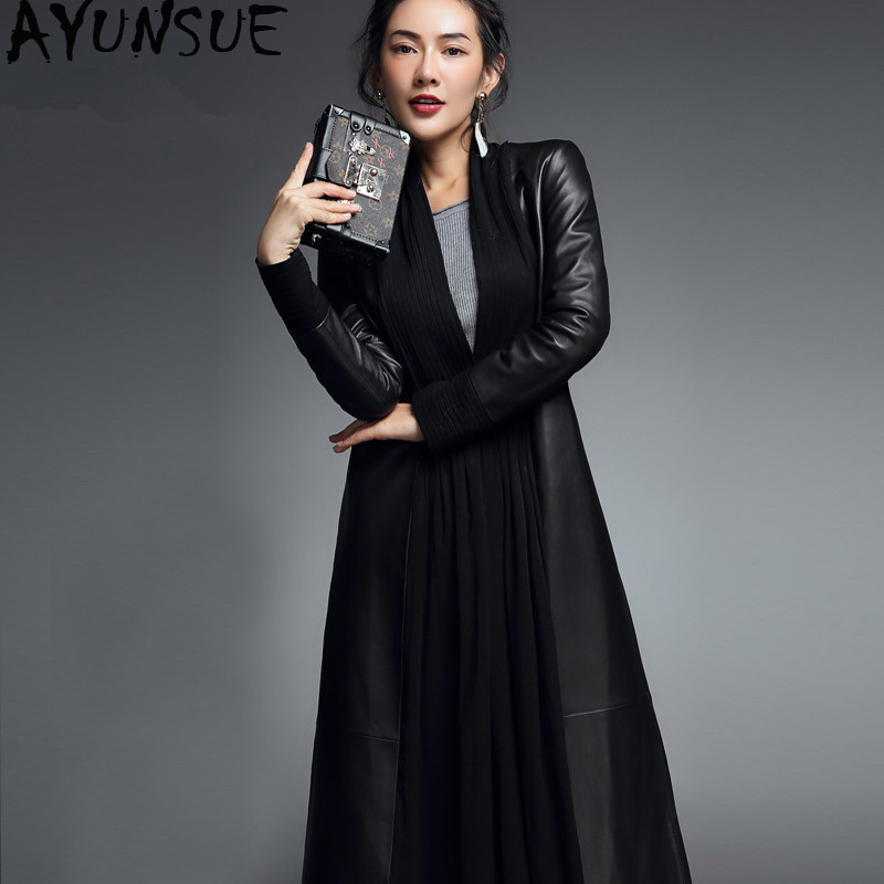 AYUNSUE 2019 Real Leather Jacket Spring Autumn Jacket Women Genuine Sheepskin Coat Female Streetwear Long Windbreaker XS16D78-08