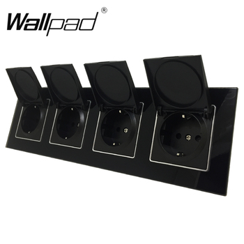 Quadruple EU Dust Cap Socket Round Box Mount CE Wallpad Luxury Black Crystal Glass 4 Way Frame 16A EU Schuko Outlet with Claws quadruple eu german socket wallpad luxury satin metal panel 4 way 344 86mm frame eu 16a electrical wall power outlet schuko