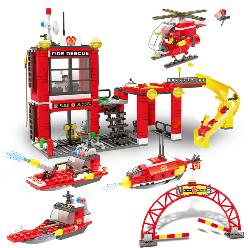 641 pièces SMFF lutte contre l'incendie sous-marin hélicoptère patrouille navire blocs de construction ville pompier enfants jouets legoinglys