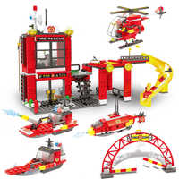 641Pcs SMFF Fire Fighting Submarine Helicopter Patrol Ship Building Blocks  City Firefighter Children Toys legoinglys
