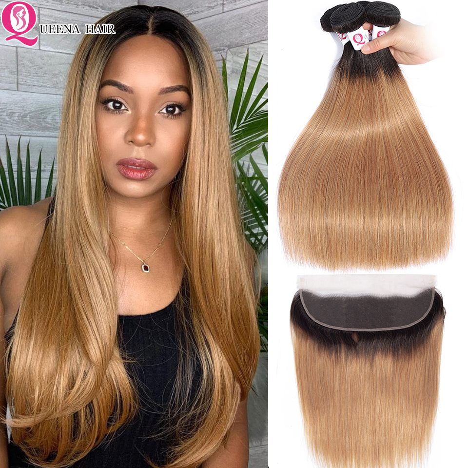 1B /27 Ombre Honey Blonde Bundles With Frontal Closure Remy Straight Hair Bundles With Frontal Brazilian Human Hair Wave Bundles