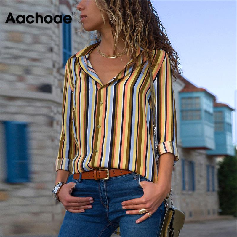 Aachoae Striped Blouse Women Long Sleeve Turn Down Collar Office Shirt Summer Blouse Casual Tops Blusas Mujer Camisas Plus Size