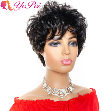 Short Human Hair Wigs Pixie Cut Wig With Bangs Brazilian Loose Curly Full Machine Made Wigs For Women 130% Density Remy Hair