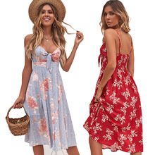 Spaghetti Strap Dress Women Tie Bow  Back Hollow Out Party Dress 2019 New Arrival Printing Summer Beach Midi Dress Vestidos random flamingos bow tie back circle dress