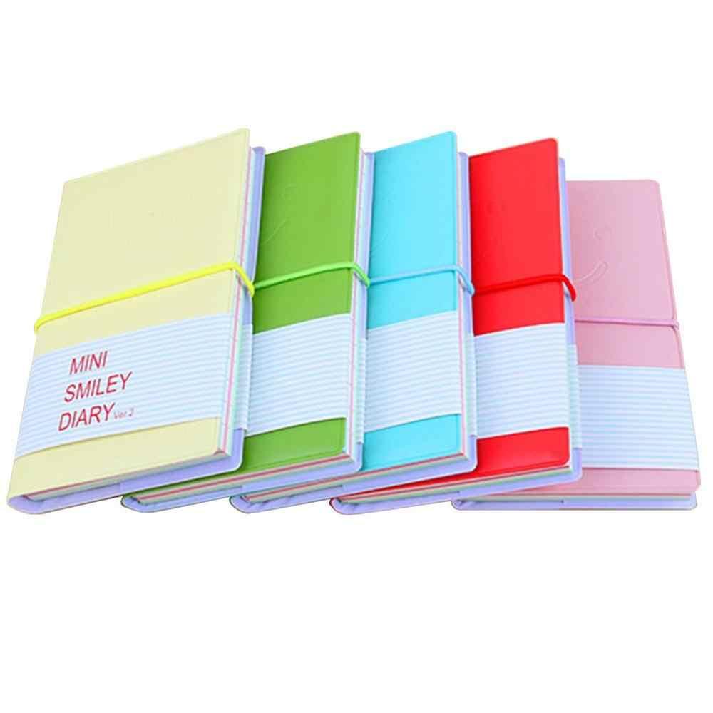 Sorriso rosto caderno de viagem couro do plutônio mini diário caderno doces cor diário diário criativo bloco de notas para estudante presente de escrita