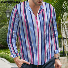 INCERUN 2019 Autumn Shirt Men Multicolor Striped Fashion Button Long Sleeve Lapel Tops Business Chemise Casual Brand Shirts