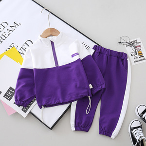 Toddler Boys Casual Set Spring Zipper Jacket Pant 2pcs Outfit Kids Splicing Sport Suit Children Active Clothing Girl New Wear