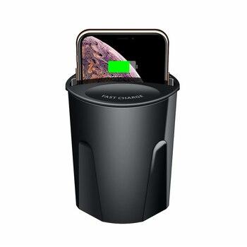10W Qi chargeur de voiture sans fil tasse rapide voiture chargeur sans fil avec USB type c sortie support pour téléphone pour iPhone 8 X XR Samsung S10 S9 Chargeurs sans fil     -