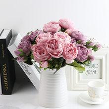 1 Bouquet de fleurs pivoines en soie, accessoires décoratifs de maison, fleurs Roses artificielles pour Pompons fausses plantes scrapbooking fête de mariage