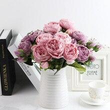 Buquê de peônias de seda para decoração de casa, acessórios para festa de casamento, scrapbook, plantas falsas, flores de rosas artificiais, pompons 1 pacote