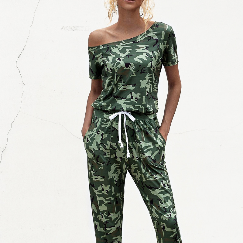 Spring Summer Camouflage print bodysuit women 2020 streetwear Casual off shoulder short-sleeved pocket Women strapless jumpsuit
