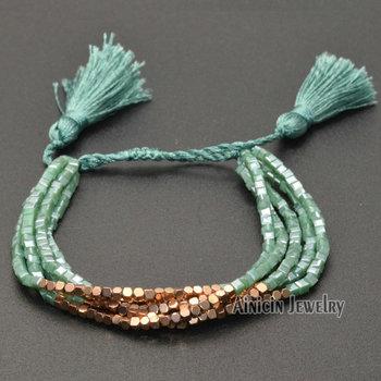 Grass Green Color Plating 3mm Cubic Crystal Glass Bead Adjustable Bracelets Fashion Tassel Summer Women Jewelry Gift 20pcs/lot