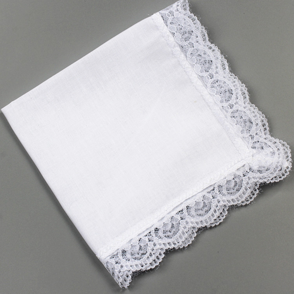 10x 100% Cotton Solid White Handkerchief Hankies  Square DIY Lace Edge