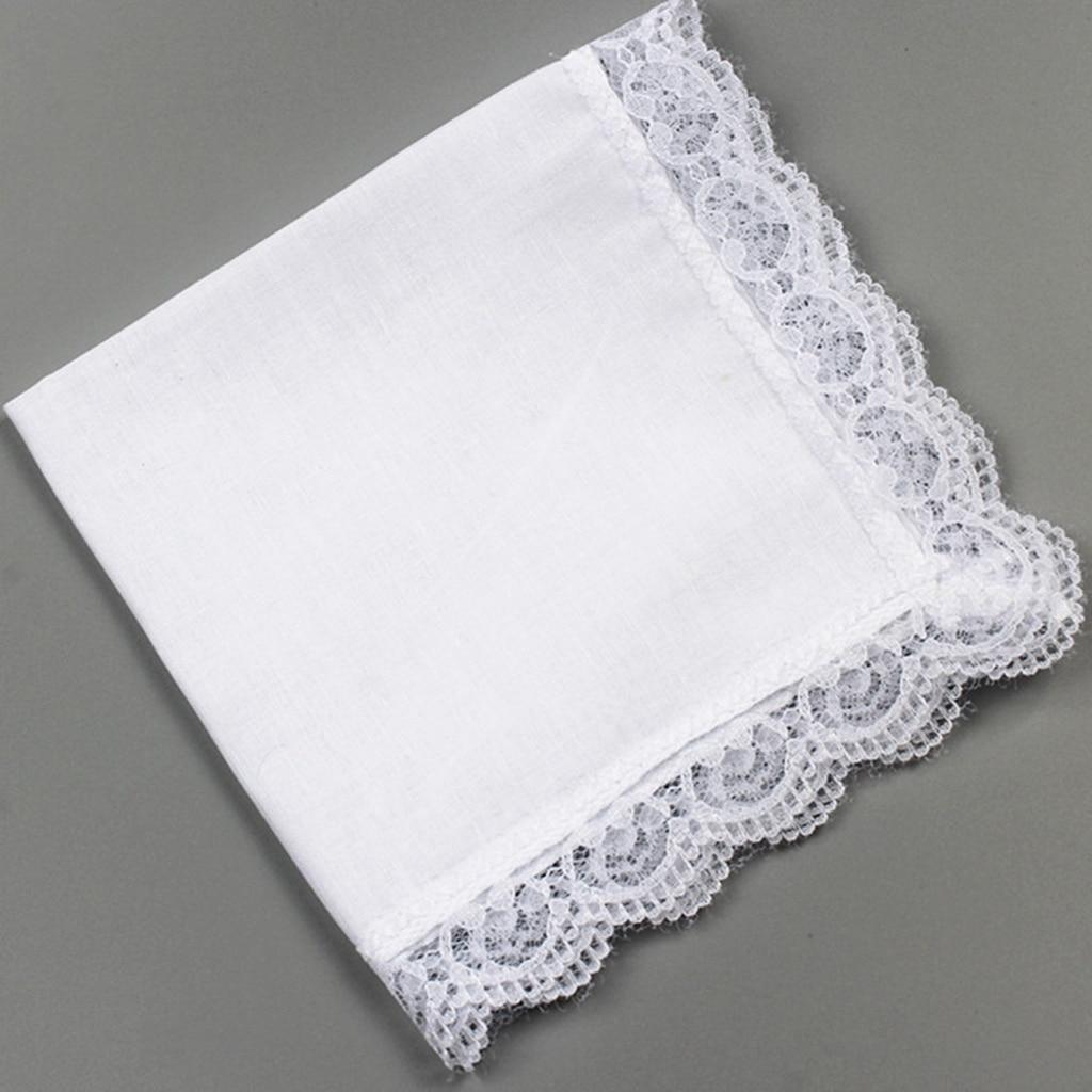10x 100% Cotton Solid White Handkerchief Hankies  Square DIY Lace Edge
