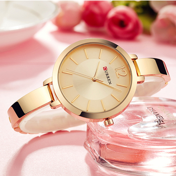 CURREN Fashion Gold Women Watches 9012 Stainless Steel Ultra Thin Quartz Watch Female Clock Romantic Women Watches Montre Femme curren stainless steel mesh strap watches women