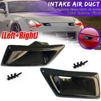 Real Carbon Fiber 2x Car Front Bumper Air Vents Hood Cover Trim Ducts Intake Outlet For Nissan 350Z Z33 ND 2003 2009
