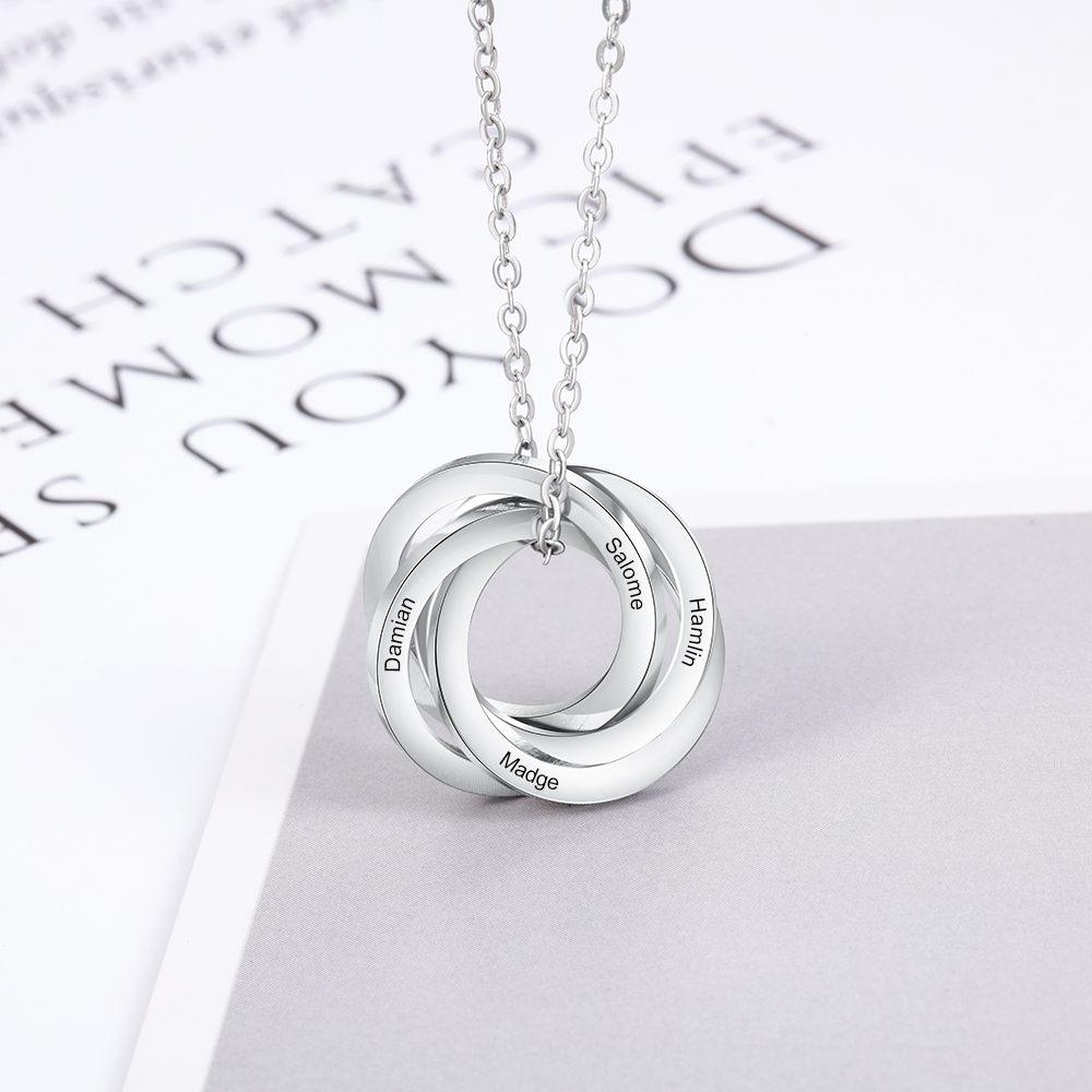 Personalized Family Necklace With 3-4 Names Stainless Steel Custom Engraved Russian Ring Necklace For Women Mother Grandmother