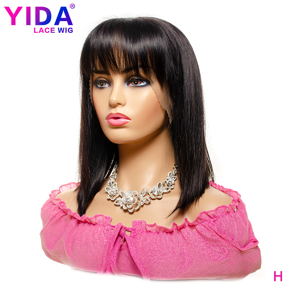 Short Bob Wig With Bangs Lace Front Human Hair Wigs Remy Brazilian Bob Bang Wigs Human Hair For Black Women 8-16 Inch YIDA Wig
